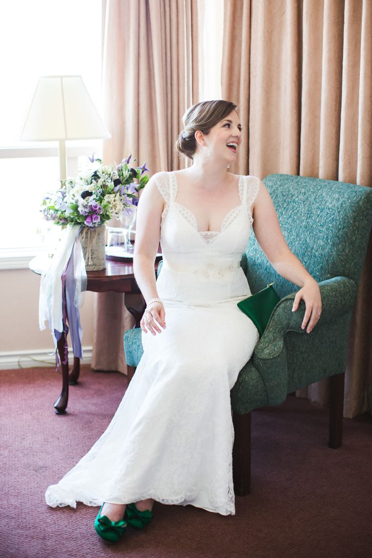 Bride laughing by Lara Eichhorn Photography. Robert Bullock dress.
