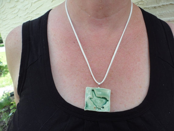 Pottery necklace Bird on a Wire in Green by NancyBloklandPottery, $16.00
