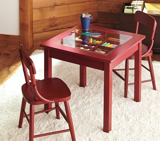 Small Space Solution: Carolina Collectors Table (stores kid's art materials Inside the table), $135 at #PotteryBarn