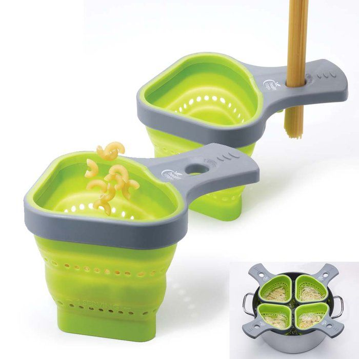 portion control pasta baskets - measure and submerge in boiling water. Can't get any easier than that!