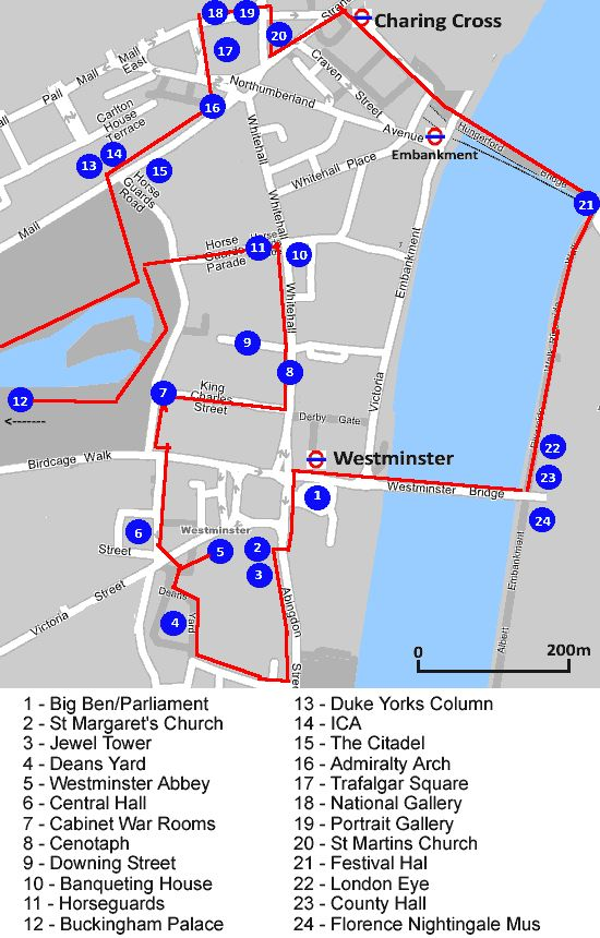 London Icons Self Guided Walk Map