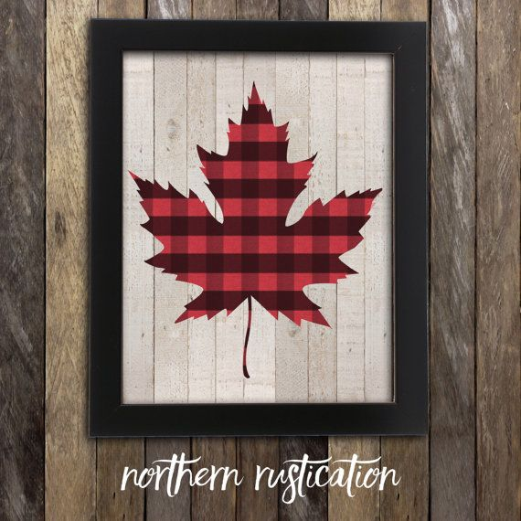 Canadian Maple Leaf Print - Lumberjack Flannel - Canada Buffalo Plaid Poster - Canadiana - Made in Canada Canadian Sellers Hipster Rustic