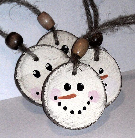 Snowman Christmas Ornament - Double Sided - Wooden Rustic Tree Decor  from RusticCharmDesign on Etsy.com