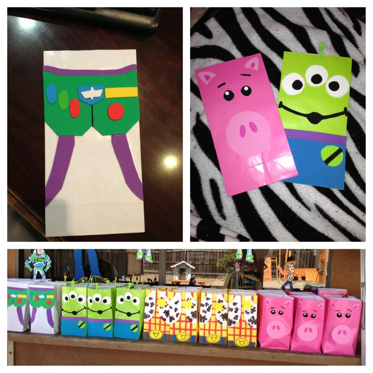 Toy story goody bags I made for my sons birthday party. All made from foam. Nice way to make them interesting :)