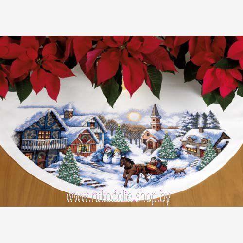 Sleigh Ride Скатерть, юбка под елку. Вышивка / Embroidery. Рождество, Новый год. Kits for embroidery. Набор для вышивки крестом Dimensions. Поделки своими руками, подарок, вышивка крест.