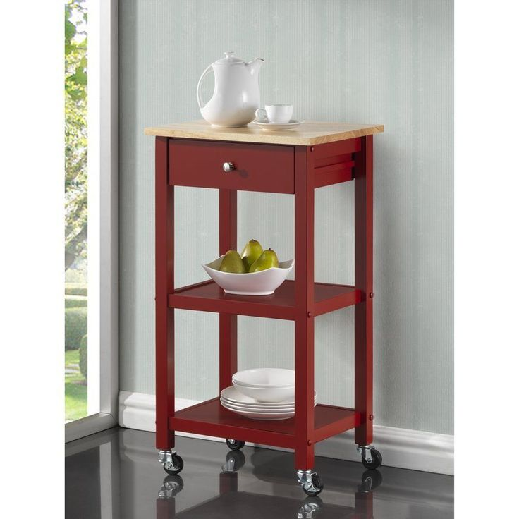 Kitchen Utility Cart Rolling Storage Shelves Drawer Stand Wood Furniture  Wheels