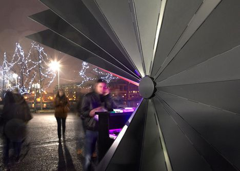 Easily transportable aluminum kiosks designed by UK-based architectural firm Make provide street vendors in London with a secure way to close up shop for t