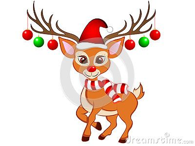 Cute Vector Illustration of a Cartoon Christmas Reindeer Clip art.