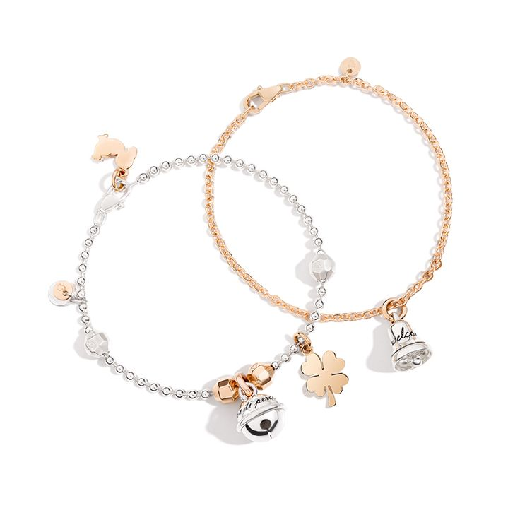 Luck is all around! Choose the silver Bell Ring or the Four Leaf Clover in rose gold and pair them with your Everyday bracelet.