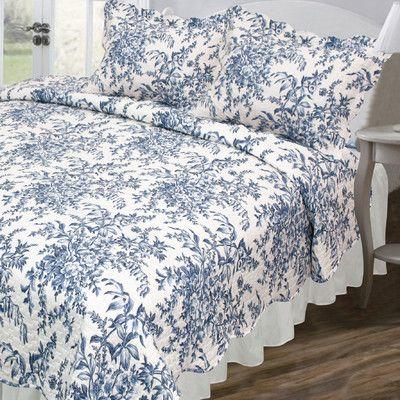 Pegasus Home Fashions Vintage Ali Quilt Set in Blue & White & Reviews | Wayfair