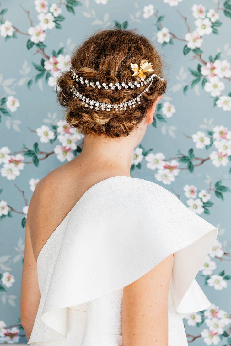 DIY Hair Accessories With Vintage Jewelry | Vintage Wallpaper Backdrop Wedding Photos