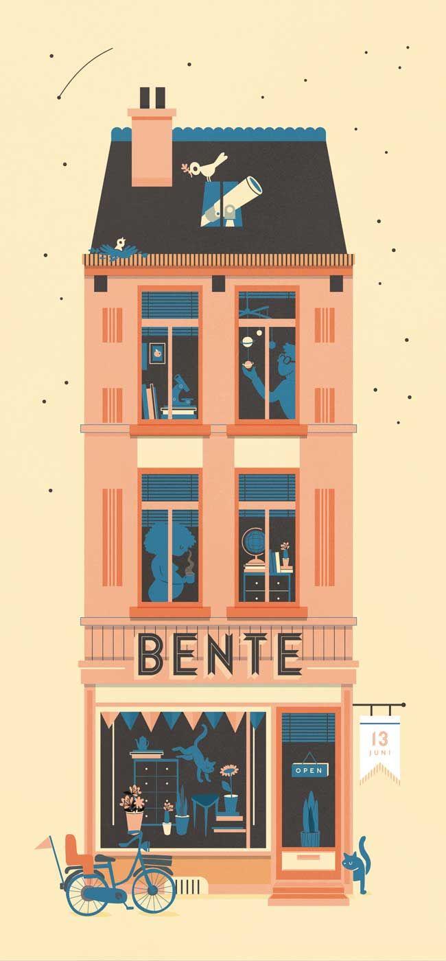 Het huis van Bente, geboortekaartje | ontwerp en illustratie van Jacques and lise