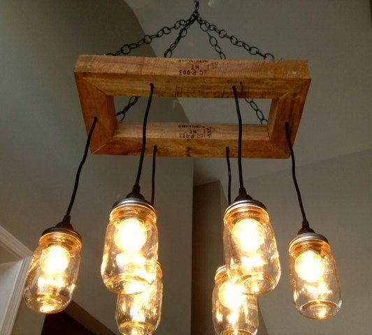 Mason Jar Chandelier - Mason Jar Lighting - Mason Jar Fixture- Edison Bulb Chandelier-Reclaimed Wood- Upcycled Wood on Etsy, $216.00