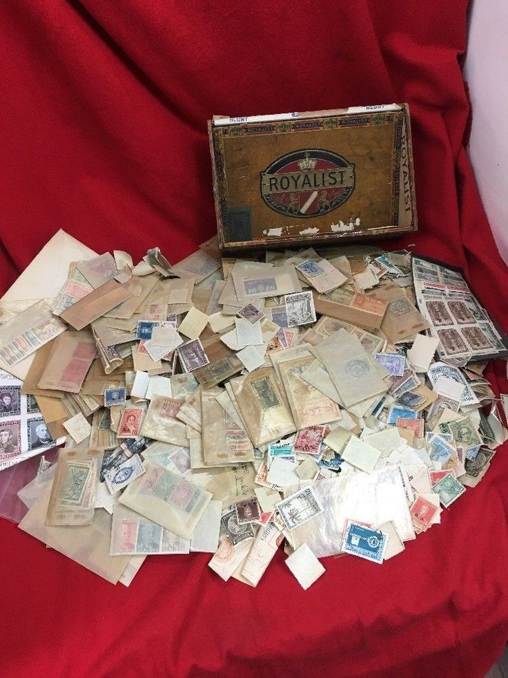 Vintage International Stamp Collection with Cigar Box