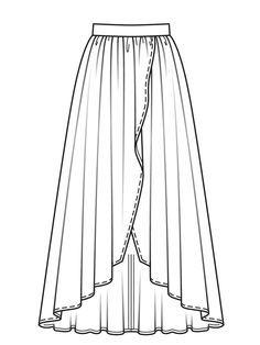 Свадебная юбка асимметричного кроя - выкройка № 102 A из журнала 3/2017 Burda – выкройки юбок на Burdastyle.ru