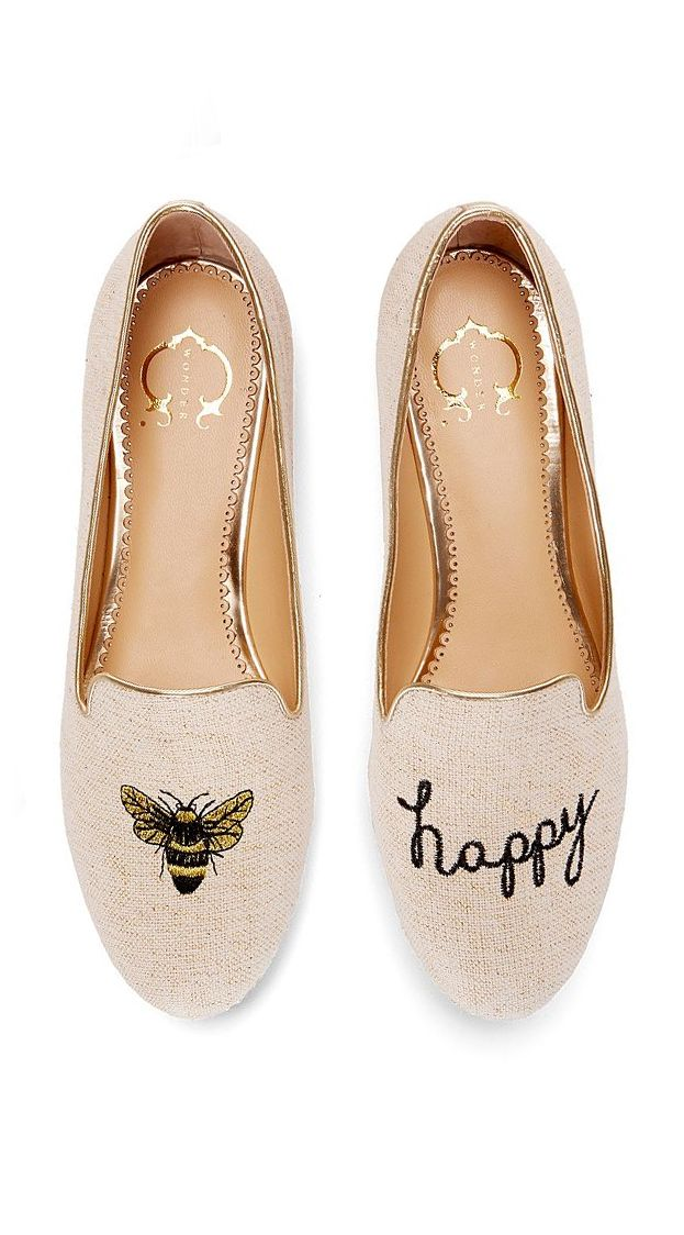 cute bee loafer style flat shoes