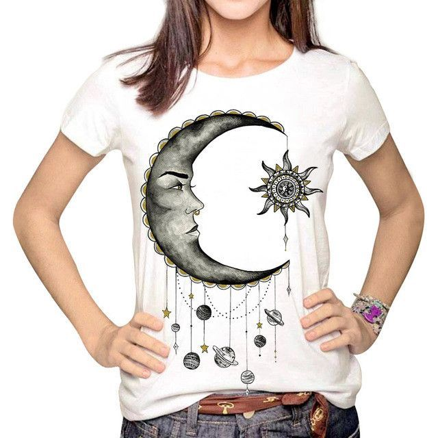 YEMUSEED Women Fashion Hipster Sun and Moon Cartoon Printed Tops Tumblr Harajuku Pencil Drawing 3D T shirt Tees Plus Size XL