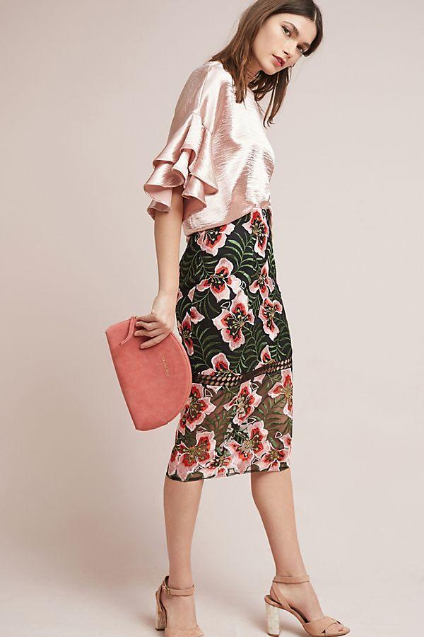 Slide View: 1: Deutzia Lace Pencil Skirt