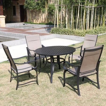 Modern 5 Piece Round Dinining Set | Tempered Smoked Glass Tabletop with Umbrella Hole | Perfect Contemporary Outdoor Furniture for Your Backyard, Patio, Deck & Garden or By the Firepit or BBQ Grill