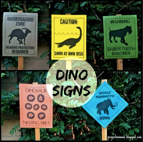 PDF Set of 5 NEW Dinosaur Crossing Signs: 1. WARNING: SABER TOOTH SIGHTING 2. WOOLY MAMMOTH CROSSING 3. HADROSAURID ZONE: HEARING PROTECTION REQUIRED 4. CAUTION: SWIM AT OWN RISK (Mauisaurus) 5. DINOSAUR NESTING AREA