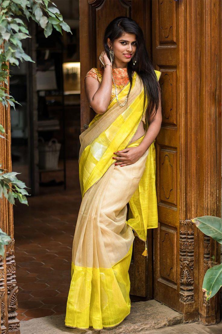 Banaras pure silk tissue saree with yellow border #houseofblousedotcom #saree #blouse #india #banaras
