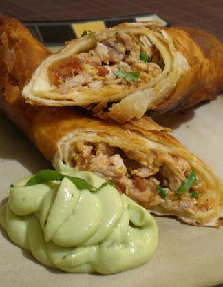 Flautas De Pollo With Avocado Cream Recipe - I used Mission low carb tortillas and they were amazing!