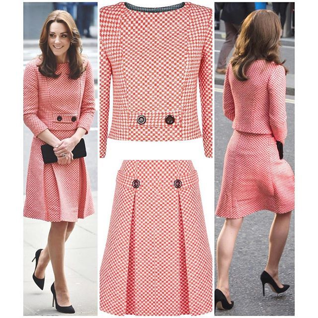 """Kate's tweed suit from yesterday was a new brand for her. Eponine of London. The red and white gingham check, two piece suit is from the current ready-to-wear season. The small relatively unknown firm has been flooded with sales and enquiries for this 60's inspired suit, which costs £1,200. The designer, Jet Shenkman, says she has, """"never experienced anything like this,"""" and is very pleased Kate chose this piece."""