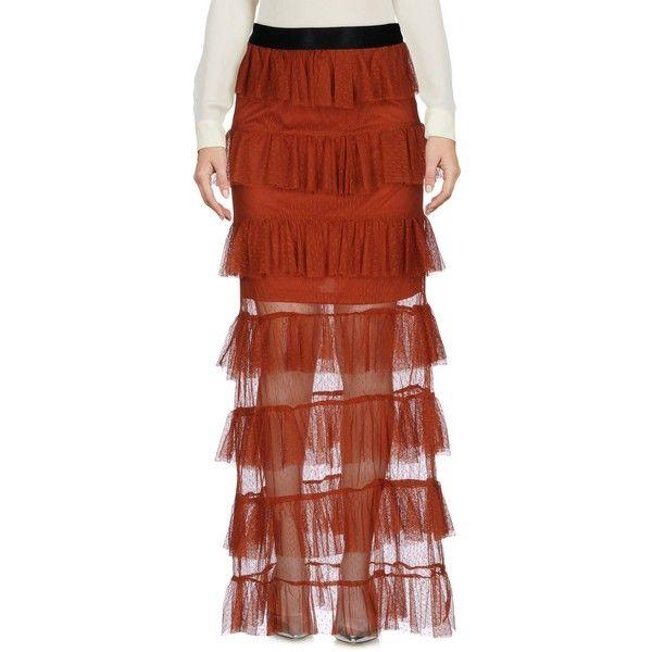 Vanessa Scott Long Skirt ($66) ❤ liked on Polyvore featuring skirts, rust, red maxi skirt, floor length tulle skirt, red tulle skirt, long skirts and long tulle skirt