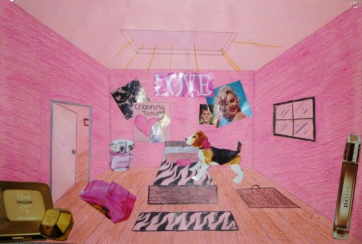8th Grade - Space - Surreal Room, magazines, color pencil ...