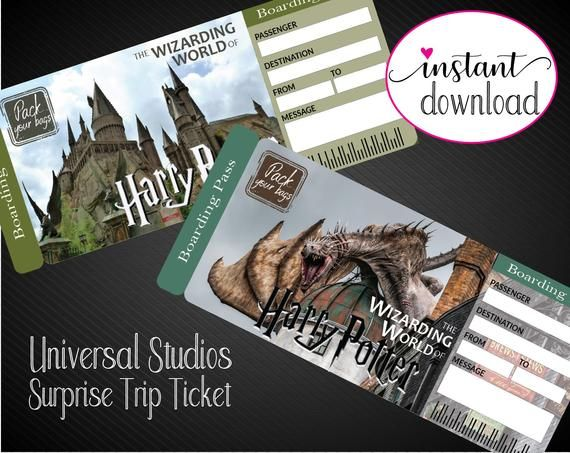 Printable Universal Studios Surprise Trip Tickets Vacation Etsy In 2021 Harry Potter Universal Studios Universal Studios Universal Studios Tickets