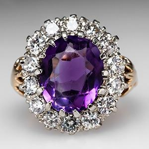 Vintage Amethyst & Diamond Halo Cocktail Ring 14K Gold