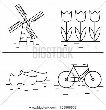 Vector line Holland icon. Windmill, tulip, bike, clogs. Dutch ...