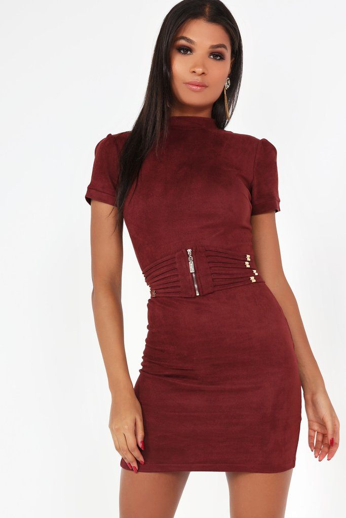 Roma Wine Suedette Belted Dress