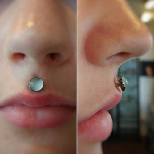When the jewelry compliments the piercing just right  I had the honor of doing this awesome philtrum piercing with this killer moonstone piece from @anatometalinc and I'm totally mezmerized   #appmember #safepiercing #blackdiamondct...