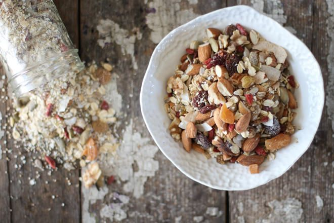 Nourishing Muesli is a nutrient dense mix of raw grains, nuts, seeds, and dried fruits. Simple to make in under 20 minutes for a light breakfast or snack.