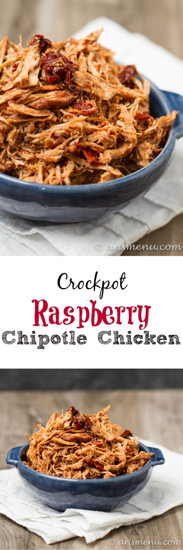 Crockpot Raspberry Chipotle Chicken: So simple, easy and delicious with just 3 ingredients!