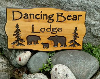 Camp Sign Family Cabin Sign   Three bears design Northern White Cedar Carved Wood Sign    Personalized