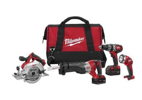 Milwaukee 2694-24 M18 4-Tool Combo Kit includes hammer drill, 2 saws and a powerful work light.