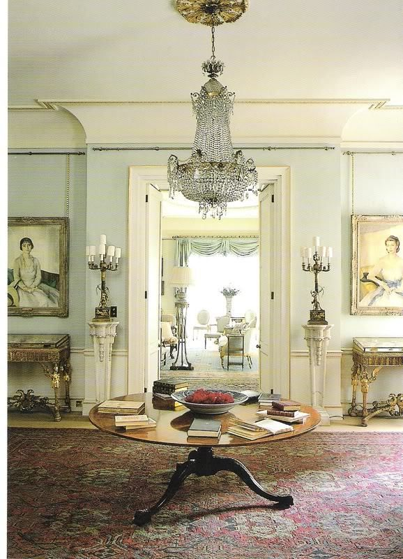 Morning Room by Clarence House with amazing architectural details, a beautiful hall table, gorgeous crystal chandelier and so much more!  Eye Candy!!!