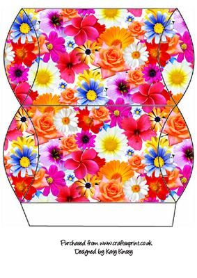 A burst of bright and cheerful flowers decorates this easy to make gift box