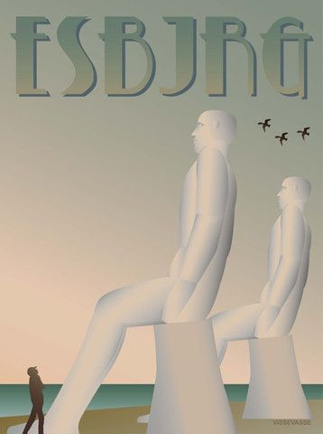 Vissevasse plakat ESBJRG  - Mændene  Mennesket og havet. Stolt sidder de fire flotte fyre og kigger ud over havet. Hvad mon de tænker på? Ikke særligt meget formentligt, for de skal symbolisere det rene og ufordærvede menneskes møde med naturen.  Det var den tanke, Sven Wiig Hansen havde, da han i 1995 valgte at placere dem med udsigt over indsejlingen til Esbjerg.
