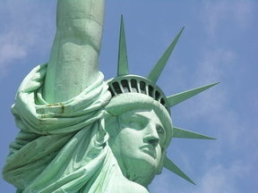 Close up of Statue of Libery, New York City.