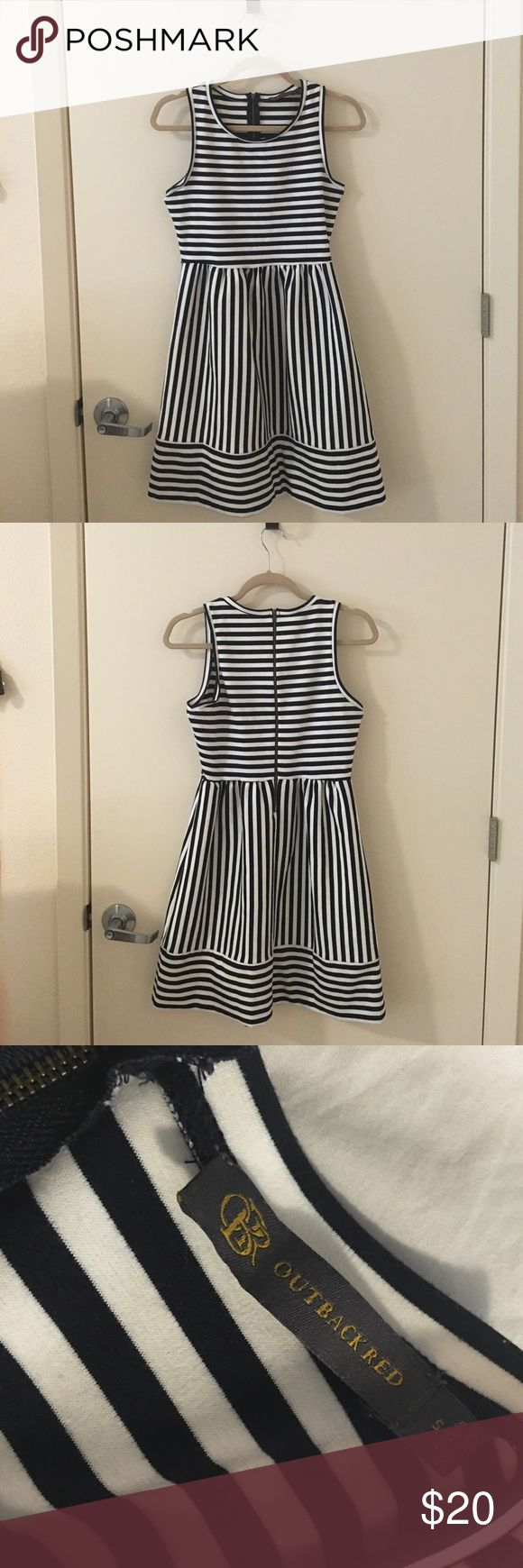The Limited - Navy and white striped work dress Outback Red from The Limited. Navy and white striped dress. Perfect for work! Pre-owned. Still in great condition. No rips, tears or stains. Selling as-is. The Limited Dresses Midi