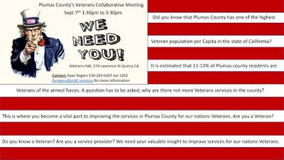 Veterans Collaborative Meeting September 7th in Quincy, CA 95971...