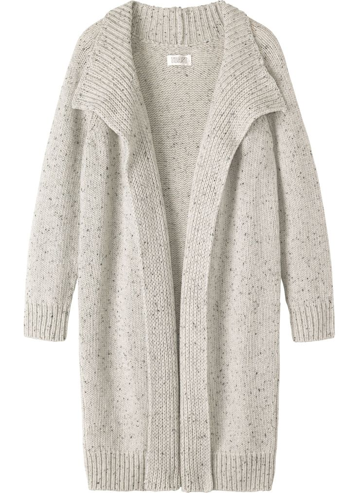 Throw-on, warm and wrappy, split seam coat in a Donegal-flecked, soft wool.