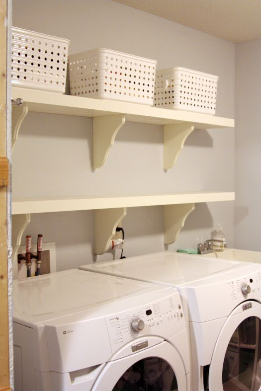 I desperately need shelves in my laundry room. Maybe with one day and under, say, fifty dollars? I might even let my hubby help too.
