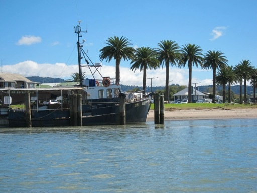 Looking back at the Whitianga wharf from the ferry.