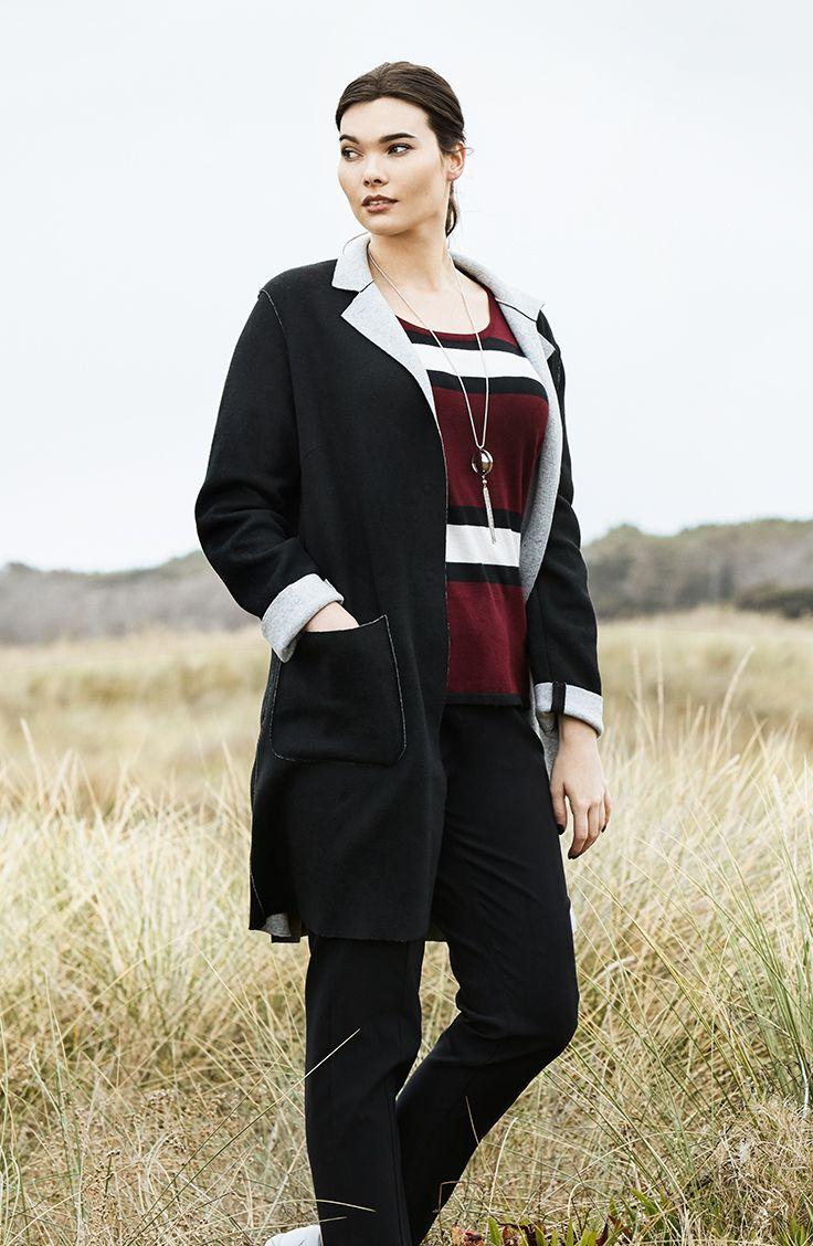 K+K - plus sized clothing for the curvy woman sizes 10-26. Black jacket. Autumn fashion. Winter fashion. Striped jumper. Wool coat.