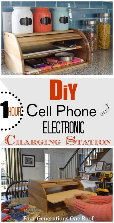 How to convert a bread box into a stylish DIY cell phone & electronic charging station {tutorial} by adding a shelf and drilling holes for charging cords. Jessica @ Four Generations One Roof
