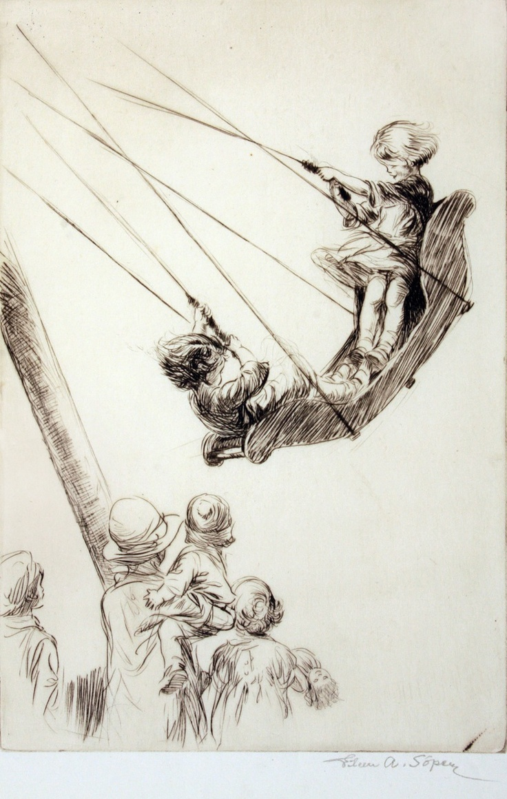 """Eileen Alice Soper original drypoint (for sale) """"THE BOAT SWING"""", from Chris Beetles Gallery, London."""